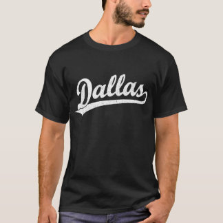 T-shirt Logo de manuscrit de Dallas dans le blanc