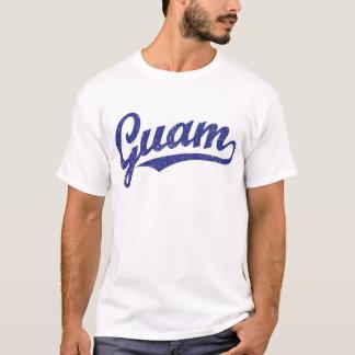 T-shirt Logo de manuscrit de la Guam dans le bleu affligé