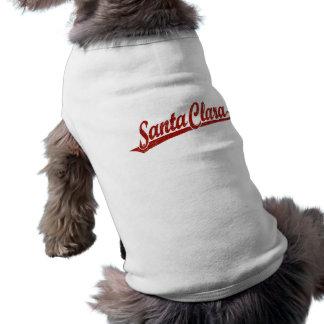 T-shirt Logo de manuscrit de Santa Clara en rouge affligé