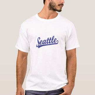 T-shirt Logo de manuscrit de Seattle dans le bleu