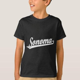 T-shirt Logo de manuscrit de Sonoma dans le blanc affligé
