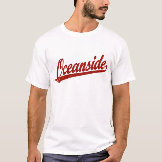 T-shirt Logo de manuscrit d'Oceanside en rouge