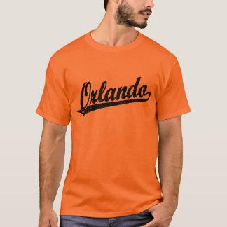 T-shirt Logo de manuscrit d'Orlando dans le noir affligé