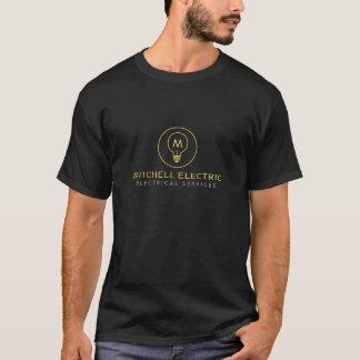 T-shirt LOGO de MONOGRAMME d'AMPOULE sur le NOIR pour