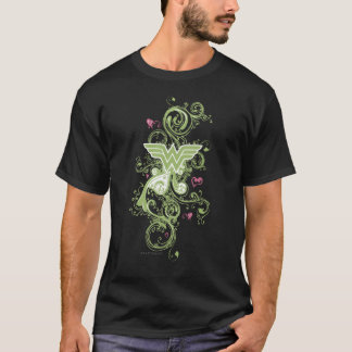 T-shirt Logo de remous de vert de femme de merveille