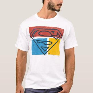 T-shirt Logo jaune bleu rouge de bloc du S-Bouclier | de