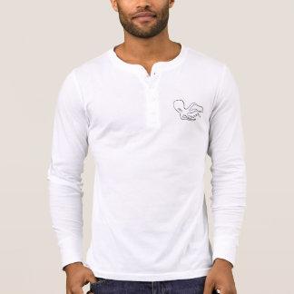 T-shirt Long-douille Henley d'art de poulpe de San Pedro