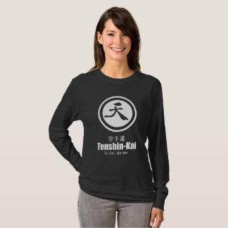 T-shirt Long-douille noire de karaté de Tenshin-Kai (wome)