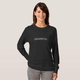 T-shirt Long-Douille reconnaissante (lettrage blanc)