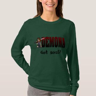 T-shirt Long noir d'armée de douille de Demona