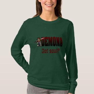T-shirt Long rouge d'armée de douille de Demona