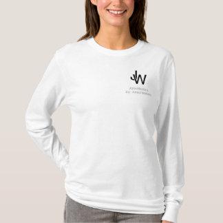 T-shirt Longsleeve blanc de base T du logo des femmes de