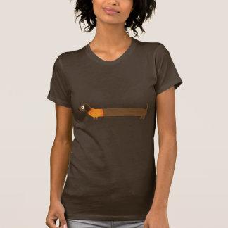 T-shirt Longue illustration mignonne de teckel