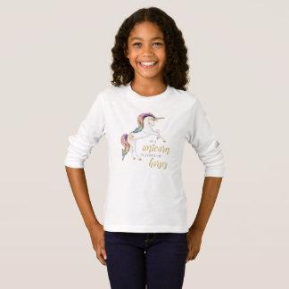 T-shirt Longue pièce en t de douille de licorne magique
