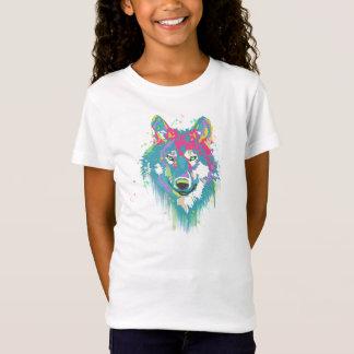 T-Shirt Loup au néon bleu rose lumineux d'éclaboussures