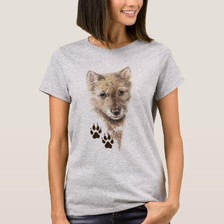 T-shirt Loup CUB, chiot, voies d'animal de nature