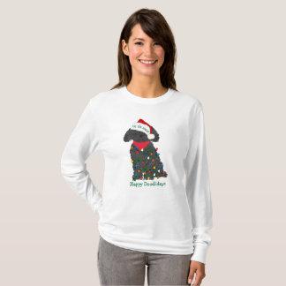 T-shirt Lumières de Noël personnalisées Labradoodle