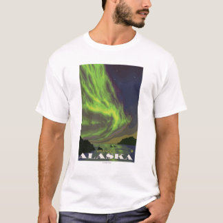 T-shirt Lumières du nord et orques - Wrangell, Alaska
