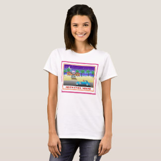 T-shirt Lune au-dessus de rose de Miami