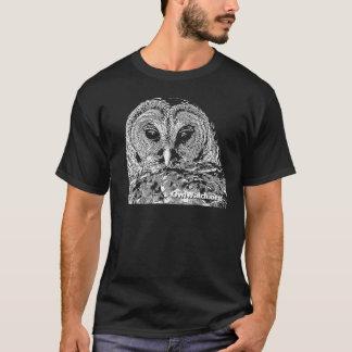 T-shirt M. hibou barré - sur le noir