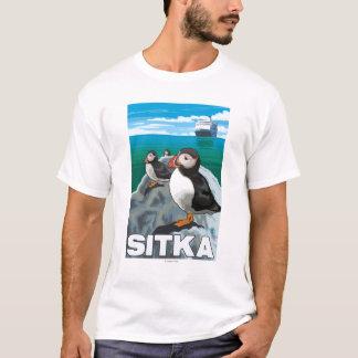 T-shirt Macareux et bateau de croisière - Sitka, Alaska