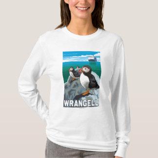 T-shirt Macareux et bateau de croisière - Wrangell, Alaska