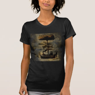 T-shirt Machine de vol de Steampunk de vol de nuit