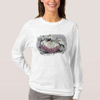 T-shirt Madame avec un petit chien d'appartement, un homme