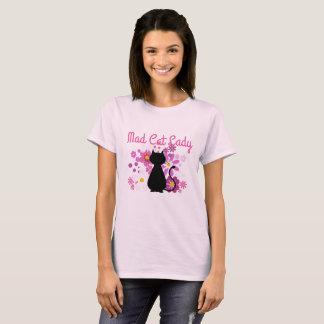T-shirt Madame folle Cat de chat dans le rose fleurit le