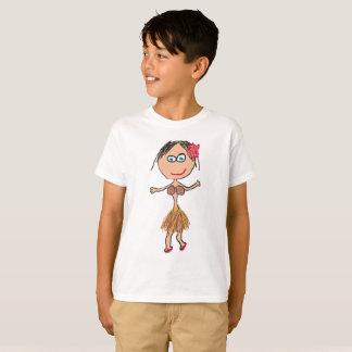 T-shirt Madame hawaïenne dans la jupe d'herbe