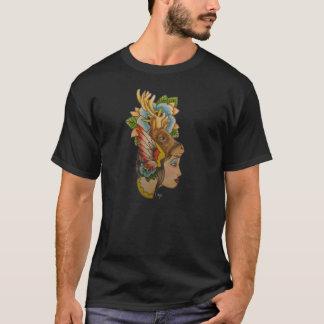 T-shirt Madame instantanée de tête de cerfs communs de