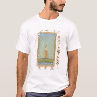 T-shirt Madame tenant une fleur, se tenant prêt un étang