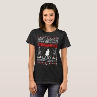 T-shirt Madame Ugly Sweater de chat de Tonkinese de Joyeux