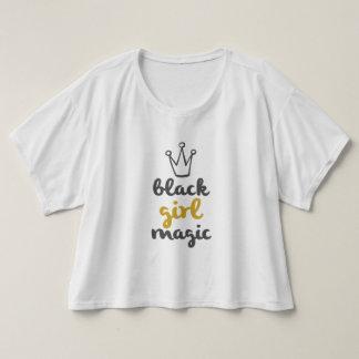 T-shirt Magie de fille de noir de couronne d'or