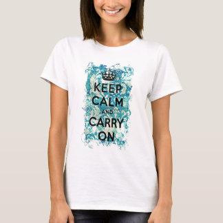 T-shirt Maintenez calme et continuez la damassé grunge de