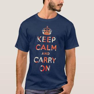 T-shirt maintenez calme et continuez le drapeau d'Union