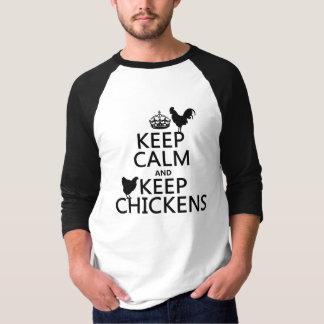 T-shirt Maintenez calme et gardez les poulets (toute