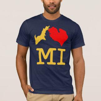 T-shirt Maïs et bleu de MI du ♥ I (coeur Michigan d'I)