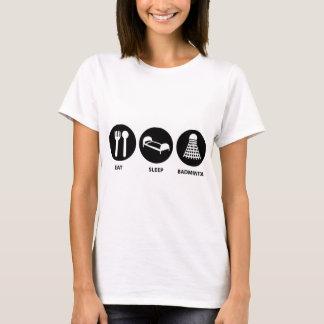 T-shirt Mangez le badminton de sommeil