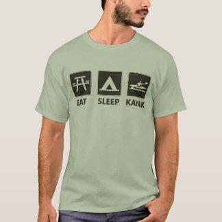T-shirt Mangez le noir de kayak de sommeil