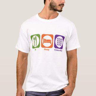 T-shirt Mangez le point de croix de sommeil
