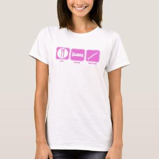 T-shirt mangez le rose de clarinette de sommeil