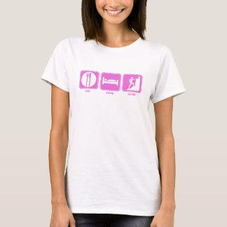 T-shirt mangez le rose de montée de sommeil