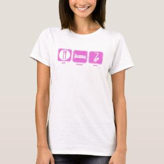 T-shirt mangez le rose de saxo de sommeil