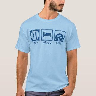 T-shirt Mangez le sommeil et montez (des montagnes russes)