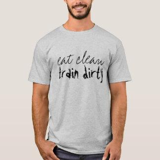 T-shirt Mangez le train propre sale