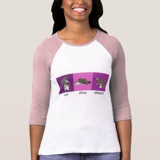 T-shirt Mangez les dames de whippet de sommeil raglanes
