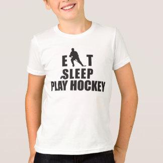 T-shirt Mangez les enfants d'hockey de jeu de sommeil
