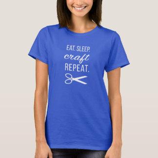 T-shirt Mangez. Sommeil. Métier. Répétition.  Texte blanc