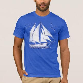 T-shirt Marin nautique de navigation de voilier blanc
